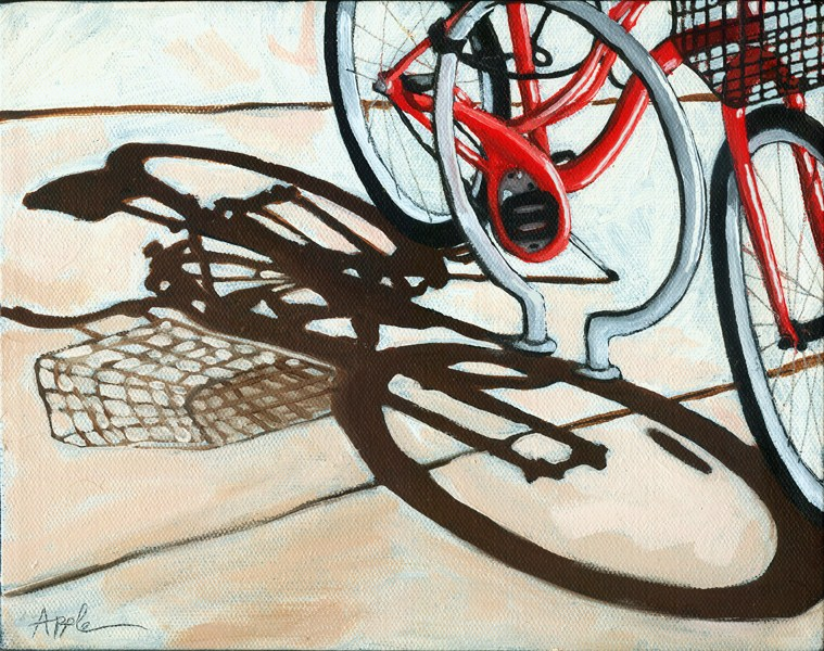 """Red Bike - Empty Basket"" original fine art by Linda Apple"