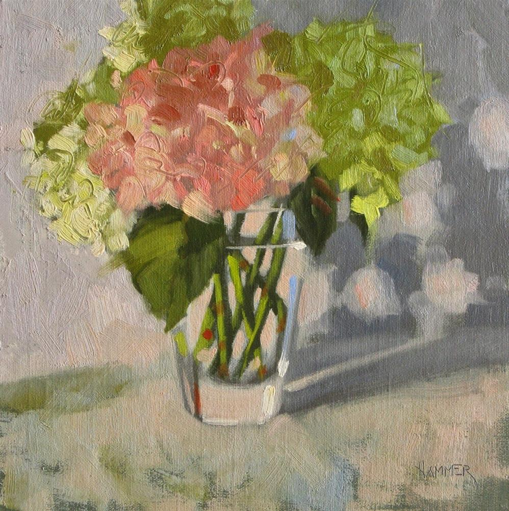 """Hydrangeas in the spot light 8x8 oil"" original fine art by Claudia Hammer"