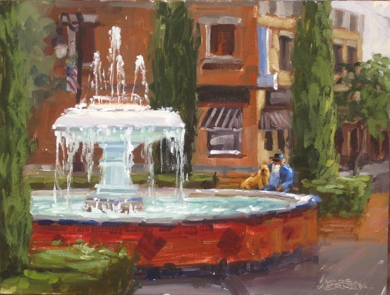 """""""Fountain Rest  """" original fine art by Karen Werner"""