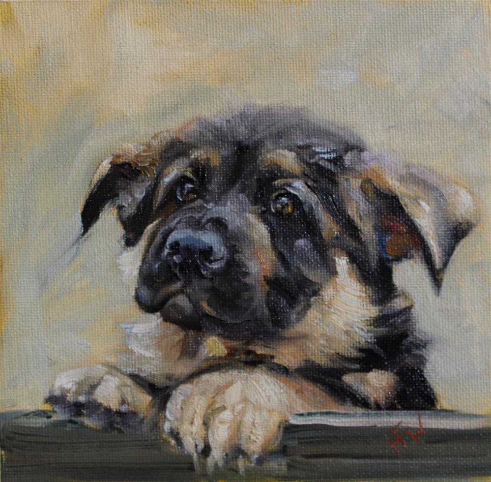"""Shepherd Puppy"" original fine art by H.F. Wallen"