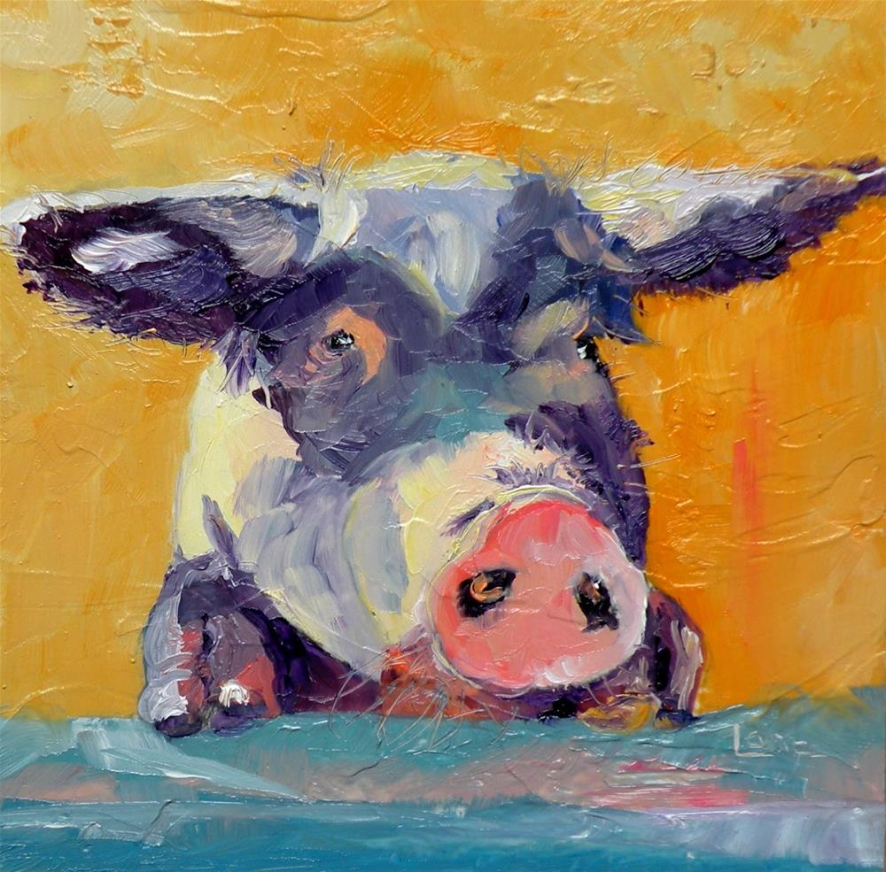 """P DITTY - A PIG ORIGINAL OIL ON 4X4 PANEL and some fun things...© SAUNDRA LANE GALLOWAY"" original fine art by Saundra Lane Galloway"