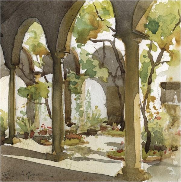 """patio 64"" original fine art by Emilio López"