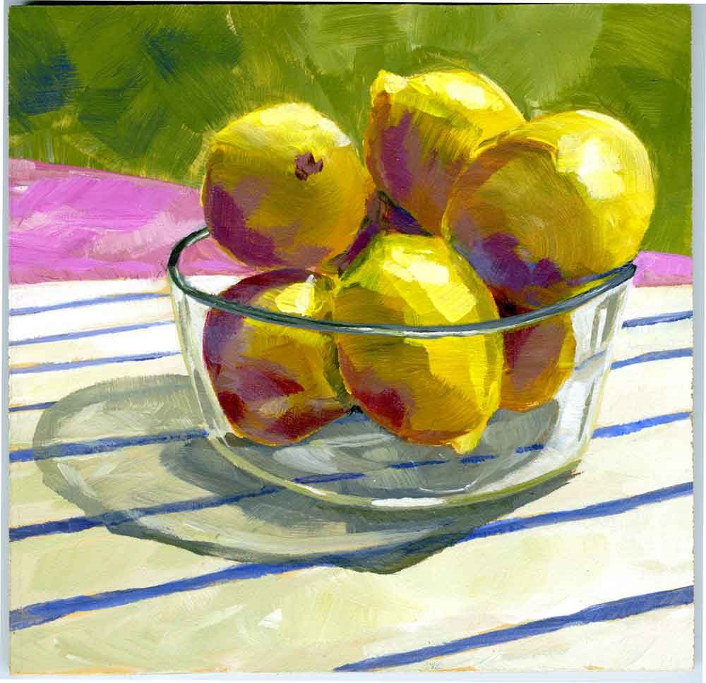 """Lemons in a Pyrex Bowl"" original fine art by Eileen Hennemann"