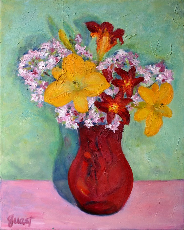 """Red Glass Vase"" original fine art by barbara quast"