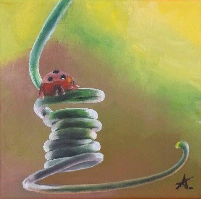 """Ladybug's spiral"" original fine art by Konstantia Karletsa"