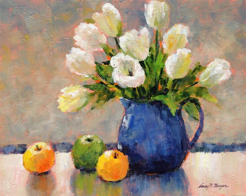 """Three Apples and Some Tulips"" original fine art by Nancy F. Morgan"