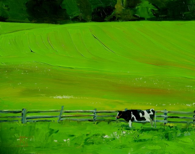 """Puzzled Cow Fenced In  oil landscape painting"" original fine art by Robin Weiss"