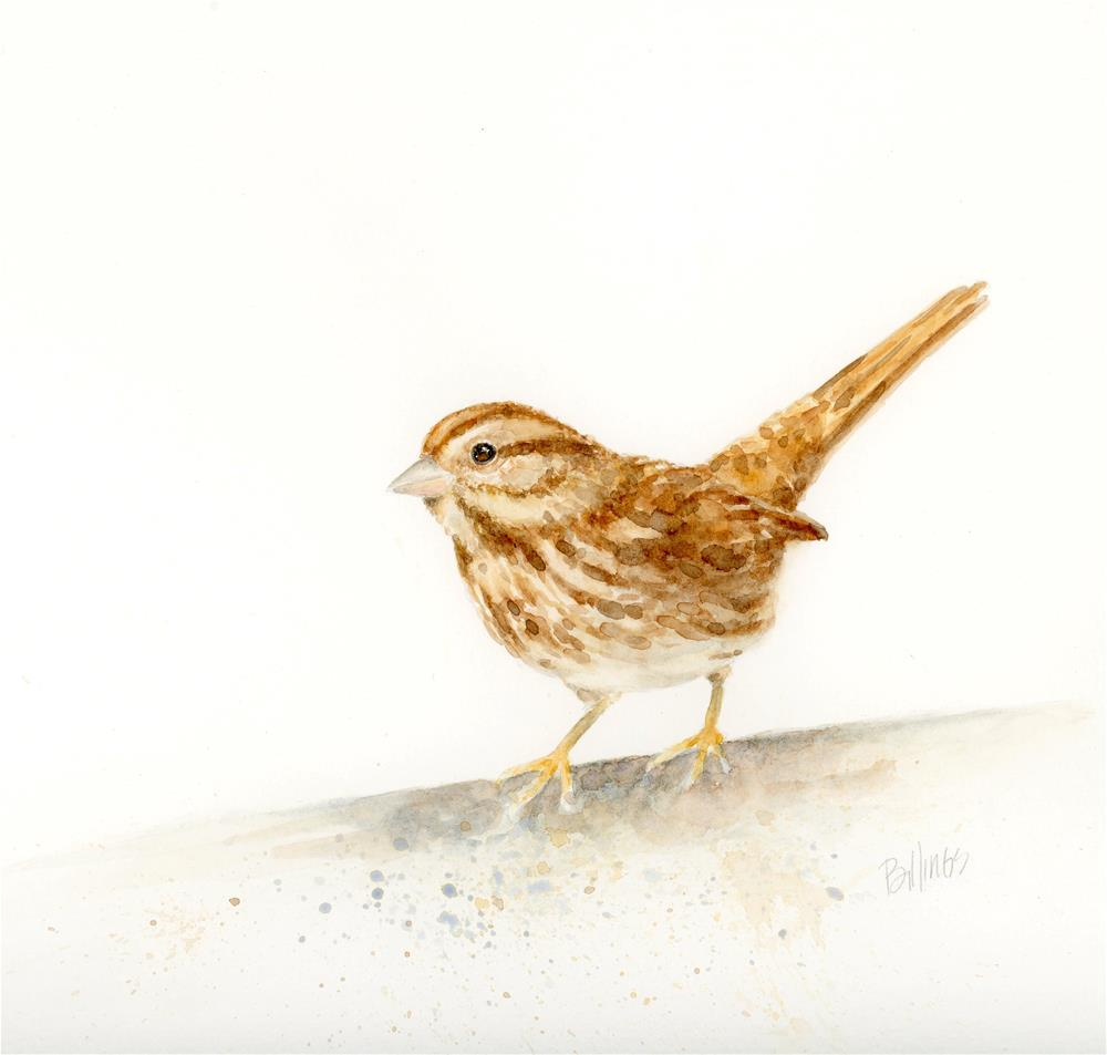 """Sparrow on the Edge I"" original fine art by Susanne Billings"
