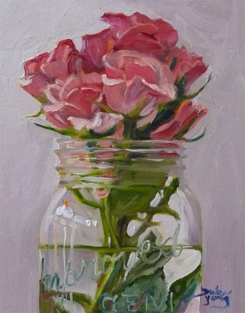 """681 Pink Roses in a Jar"" original fine art by Darlene Young"