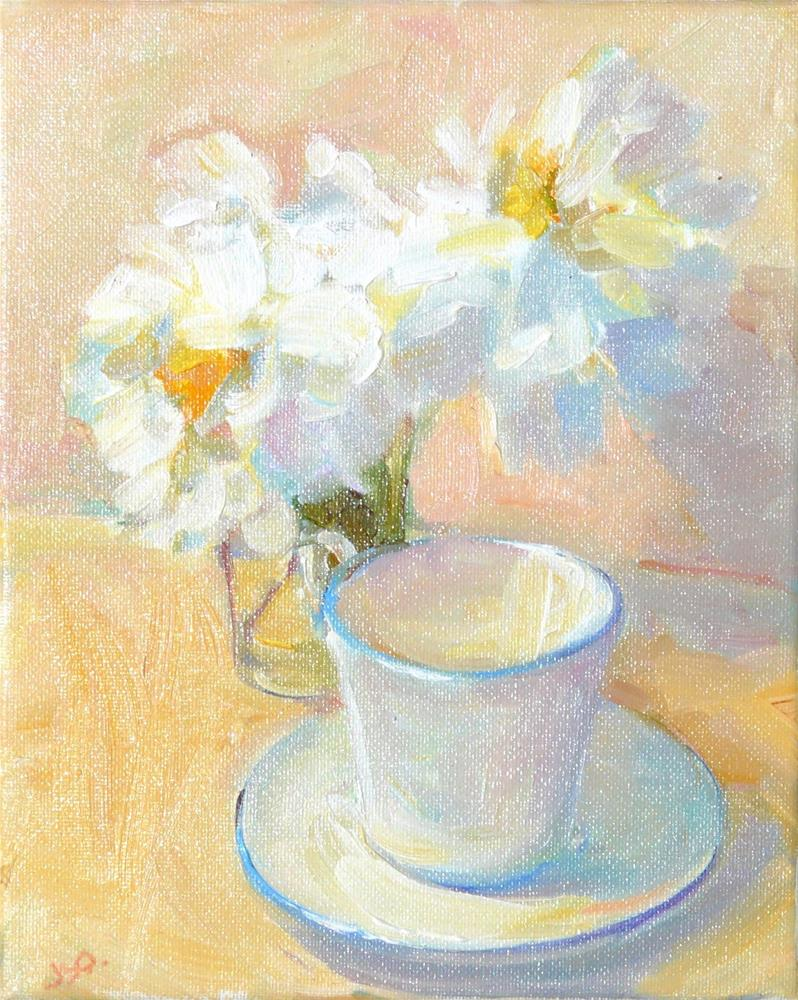 """White Peonies with Tea,still life,oil on canvas,10x8,priceNFS"" original fine art by Joy Olney"