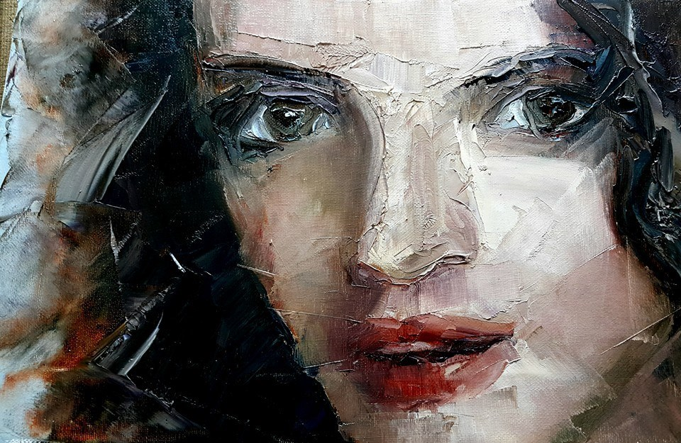 """Palette knife portrait 1"" original fine art by Rentia Coetzee"