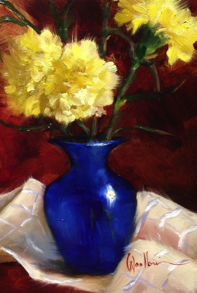 """""""Yellow Carnations"""" original fine art by Dorothy Woolbright"""