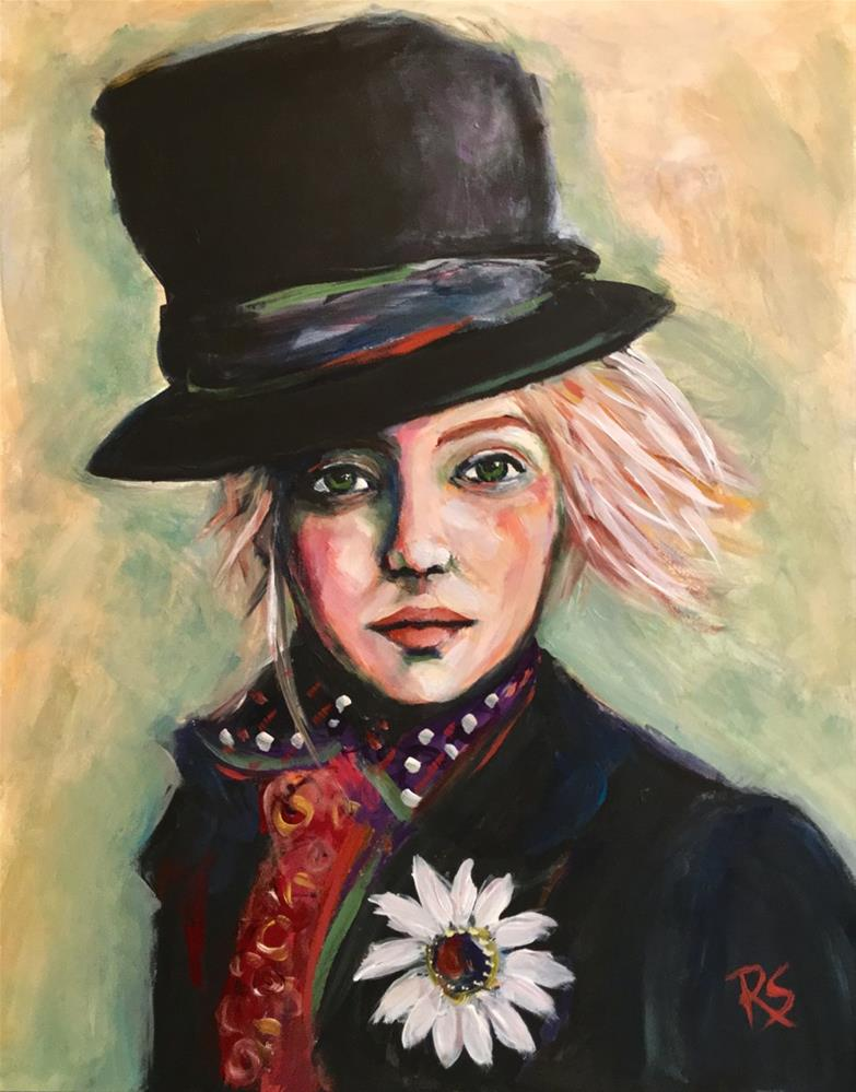 """Emma In a Top Hat"" original fine art by Roberta Schmidt"