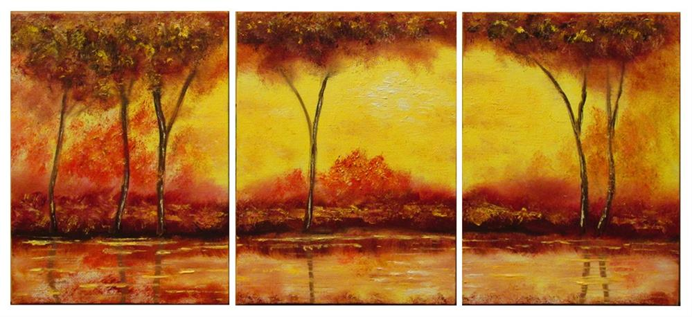 """Autumn's Gold 3--Oil on 3 6x8 Canvases"" original fine art by Mary Sylvia Hines"