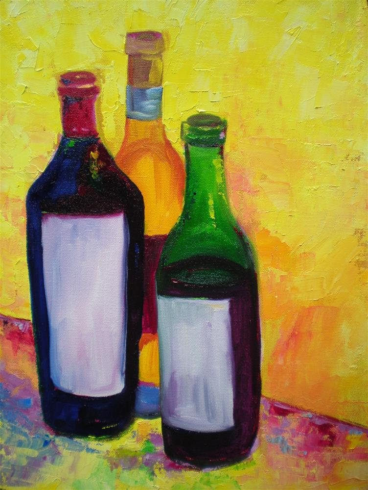 """Vino Trio 2"" original fine art by Loralee Chapleau"