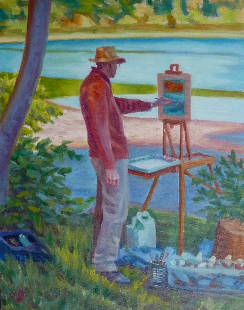 """Bill Painting at Clearlake"" original fine art by Mark Allison"