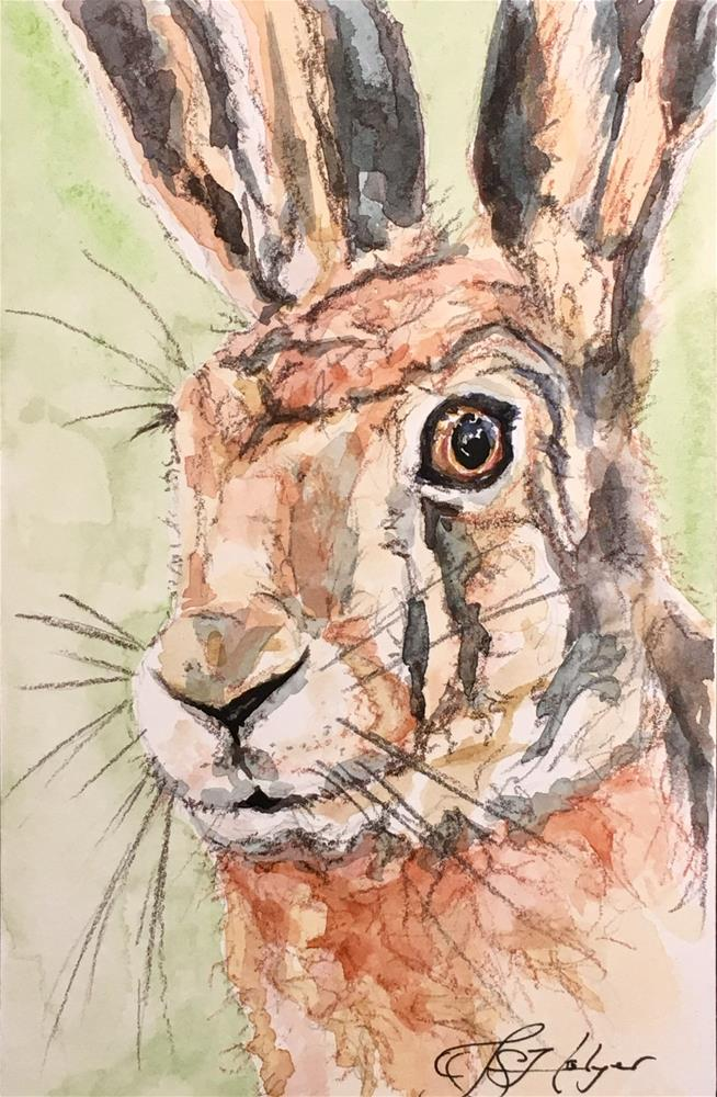 """Rabbit on Green"" original fine art by Jen Holyer"