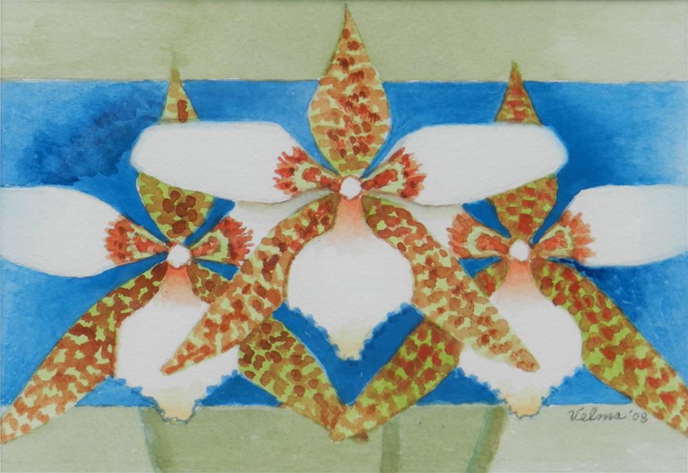 """Three White and Green Orchids"" original fine art by Velma Davies"