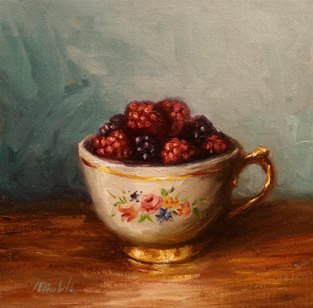 """""""Raspberries in Antique Tea Cup"""" original fine art by Carolina Elizabeth"""