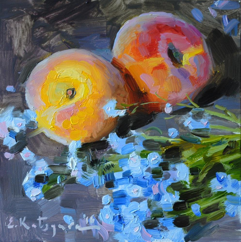 """Peaches and Forget-Me-Nots"" original fine art by Elena Katsyura"
