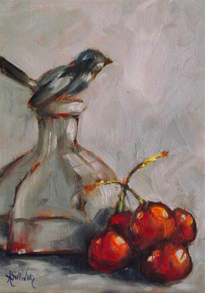 """Cherry Chirp"" original fine art by Angela Sullivan"