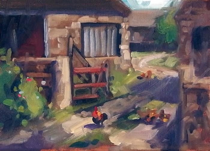 """No 722 FarmYard"" original fine art by Robin J Mitchell"