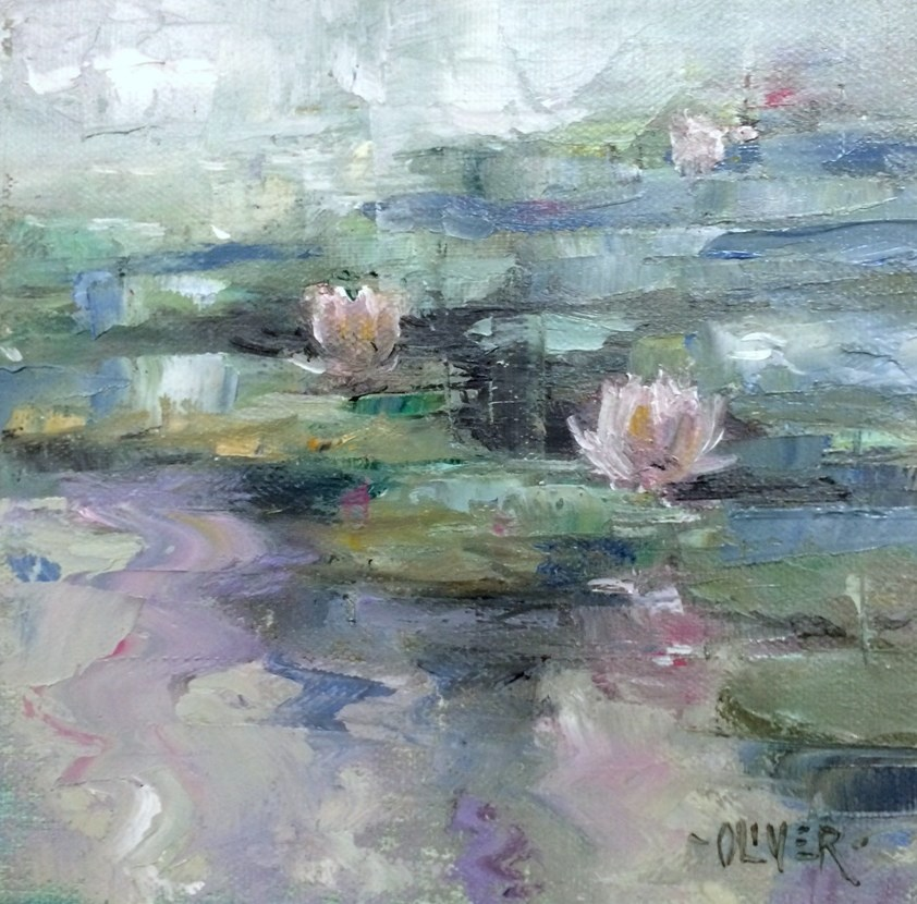 """LilyPond - Misty Morning"" original fine art by Julie Ford Oliver"