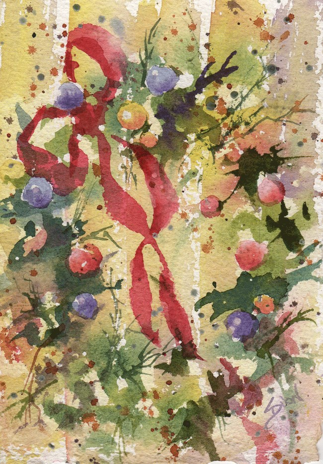 """Wreath1"" original fine art by Sue Dion"