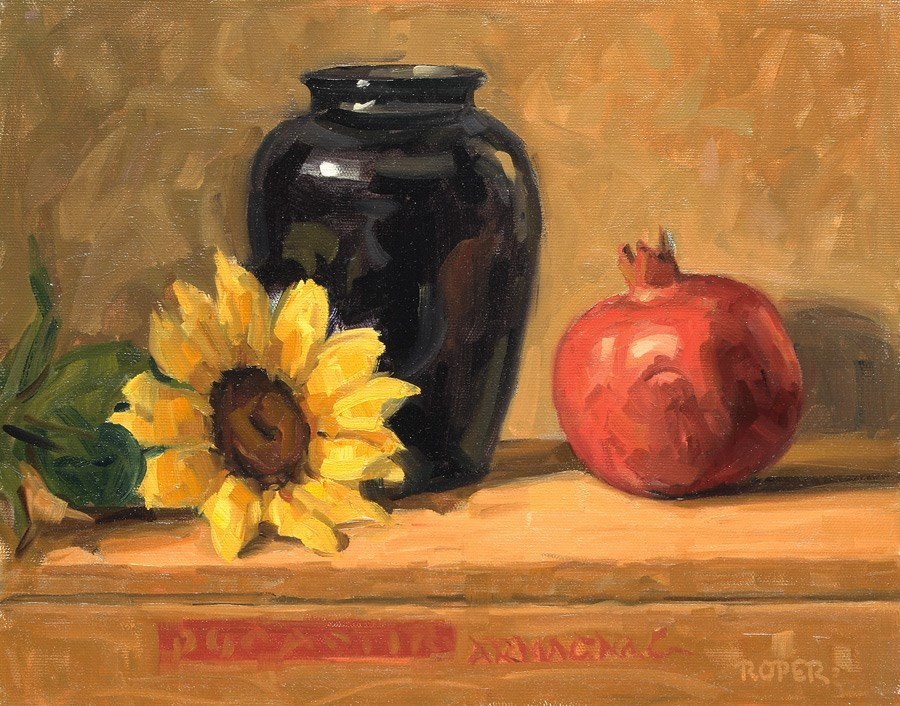 """DAY 25: Still Life with Pomegranate"" original fine art by Stuart Roper"