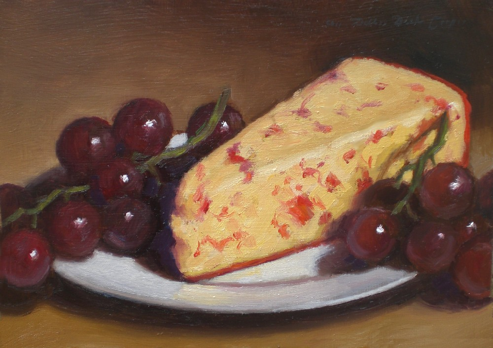 """Red Pepper Cheese and Grapes"" original fine art by Debra Becks Cooper"