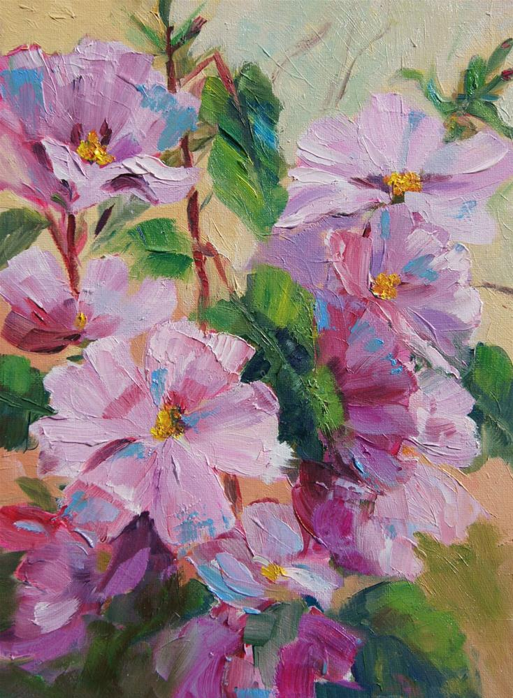 """Pink Mallow oil painting"" original fine art by Marion Hedger"