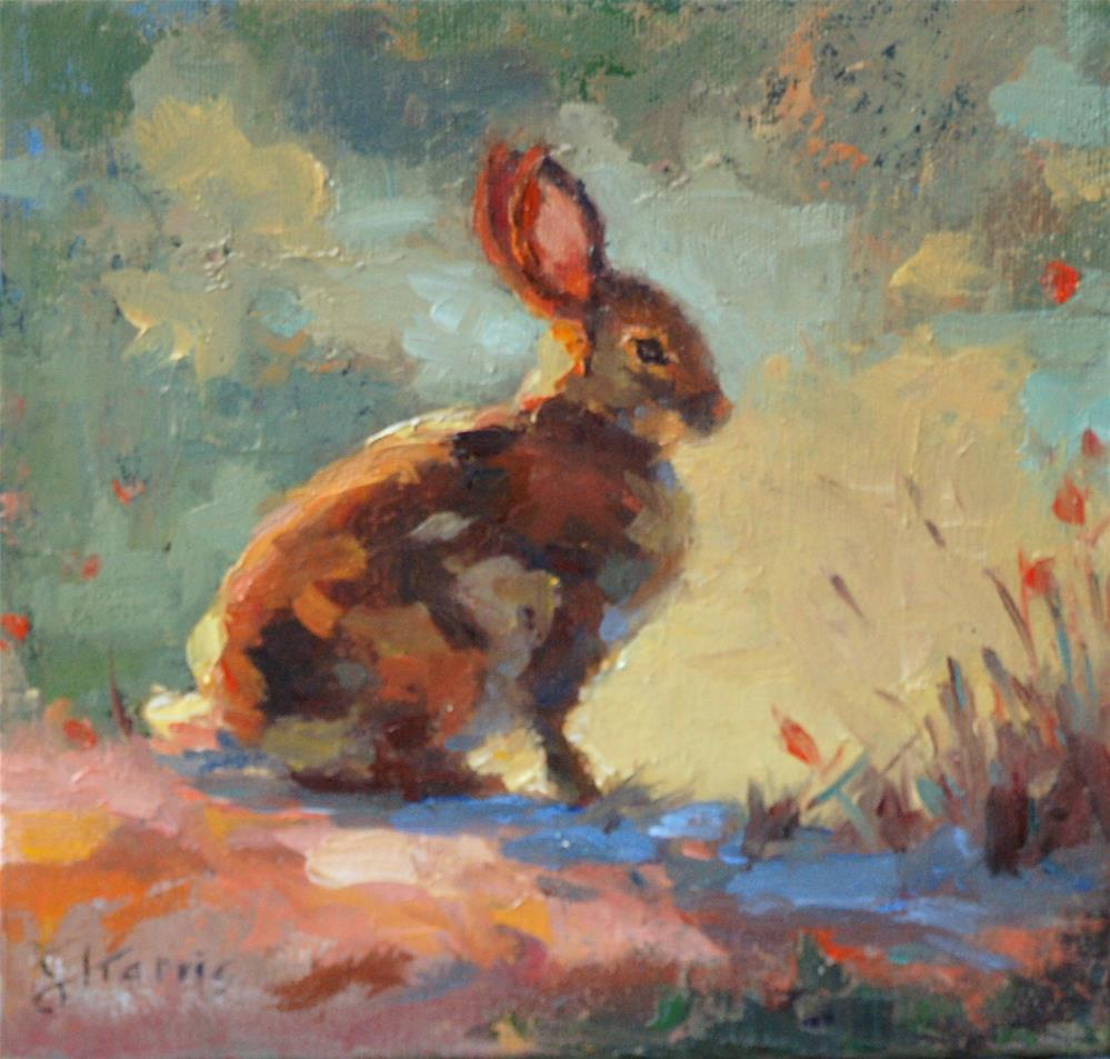"""Cottontail"" original fine art by Sandra L Harris"
