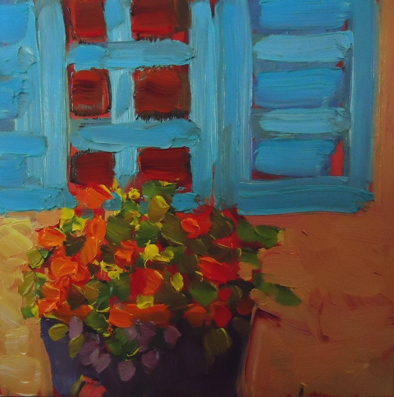 """122 SANTA FE FLOWERS"" original fine art by Dee Sanchez"