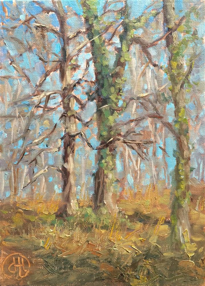 """ivy and bare branches"" original fine art by Dottie  T  Leatherwood"