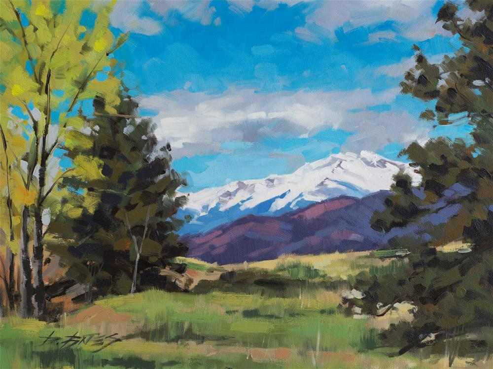 """Pikes Peak in Spring"" original fine art by David Bates"