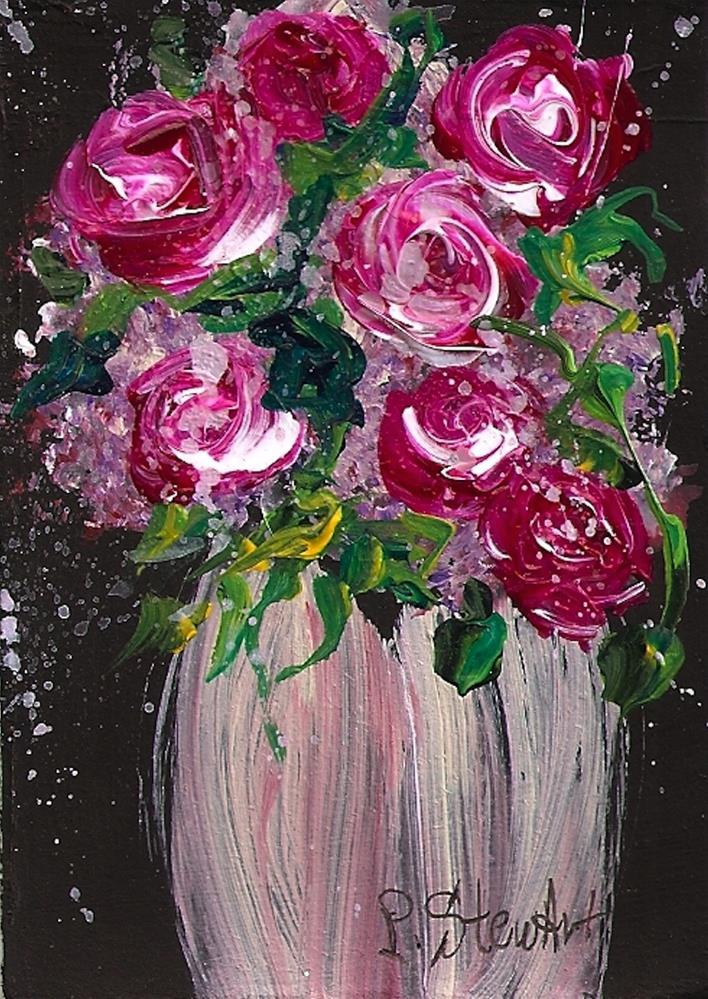 """ACEO Bouquet of Roses in Mauve Vase Original Acrylic OOAK Miniature Art"" original fine art by Penny Lee StewArt"