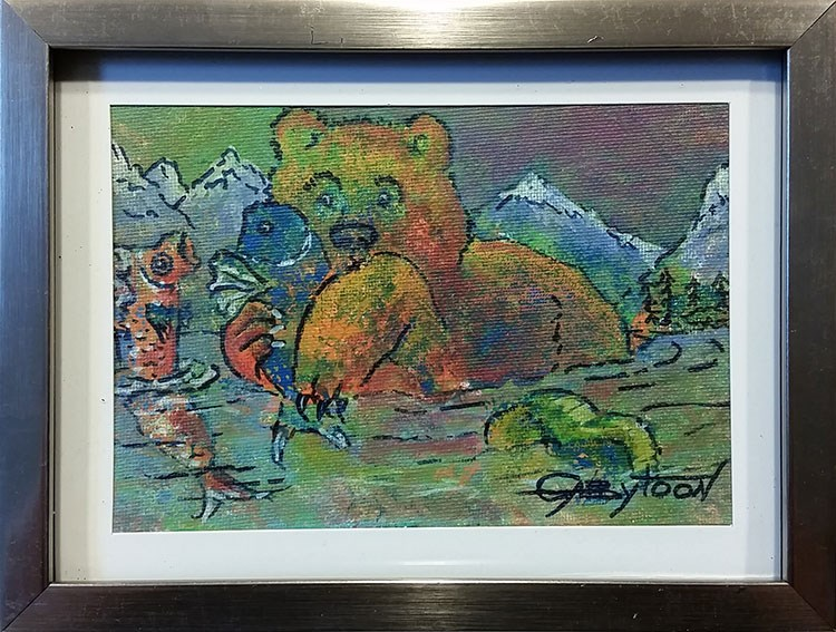 """Bear's Fishing"" original fine art by Gabriella DeLamater"