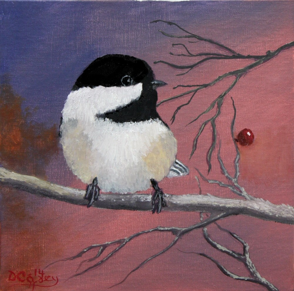 """Avian Series - Chickadee 002a 8x8 oil on linen panel - The Daily Painter"" original fine art by Dave Casey"