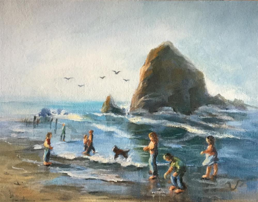 """Haystack Rock"" original fine art by Sharon Abbott-Furze"