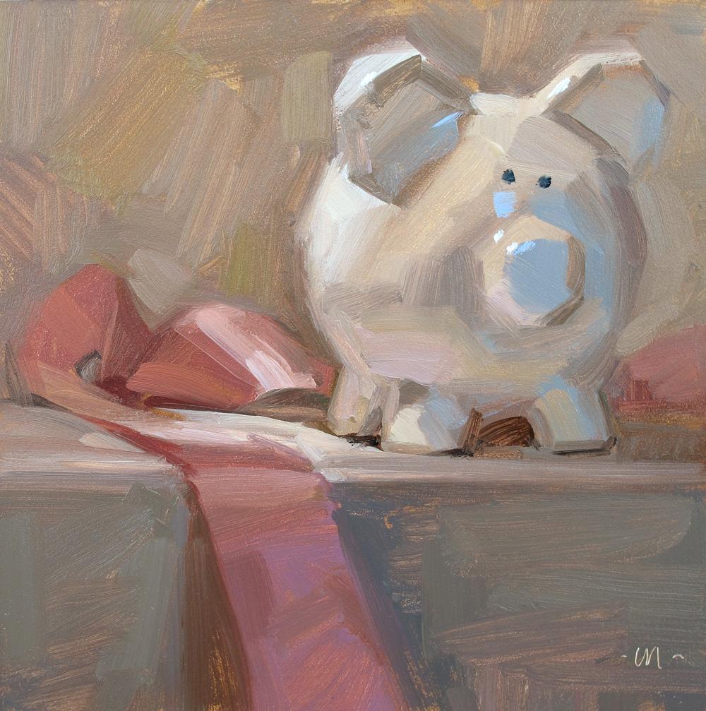 """Pink Ribbon, Blue Nose"" original fine art by Carol Marine"