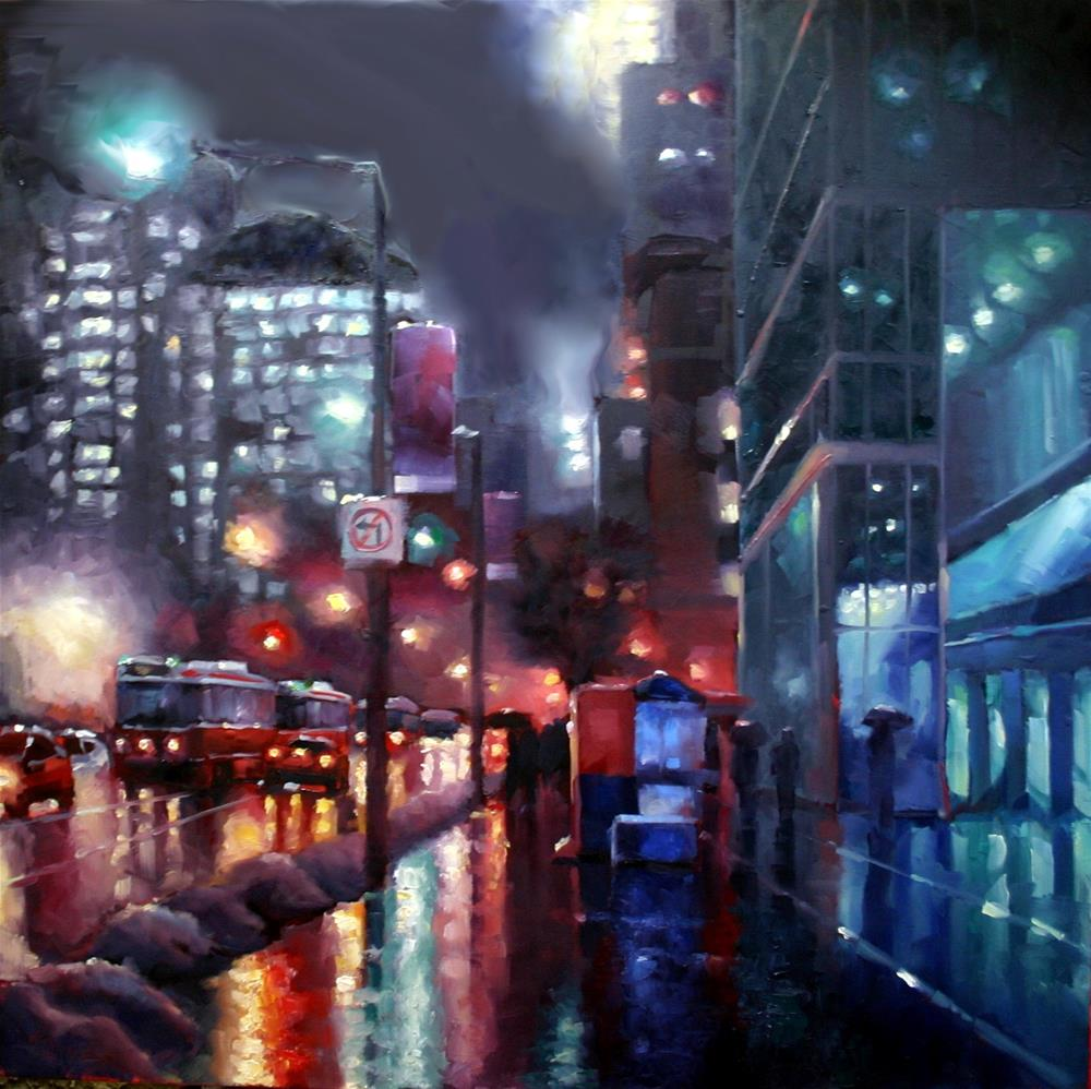 """Night Rain on King"" original fine art by Catherine Jeffrey"