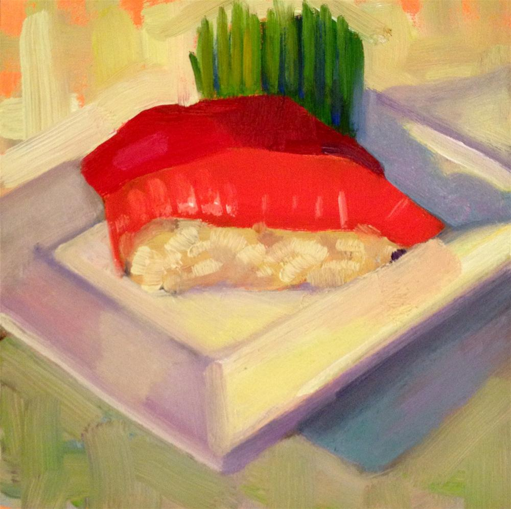 """I Swam Upstream for This?  6x6"" original fine art by Ann Feldman"