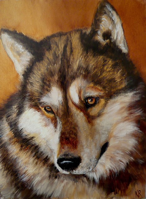 """Golden series No 2 - wolf"" original fine art by Karen Robinson"