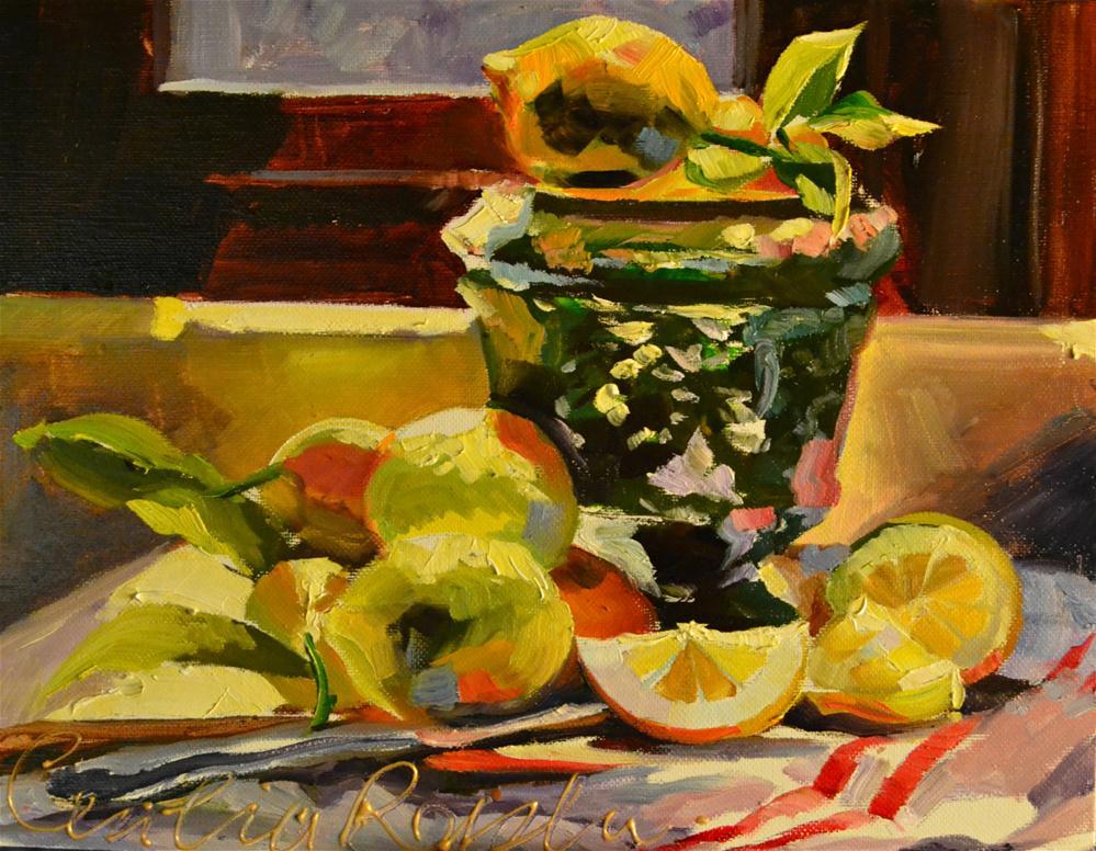 """MEYER LEMONS"" original fine art by Cecilia Rosslee"