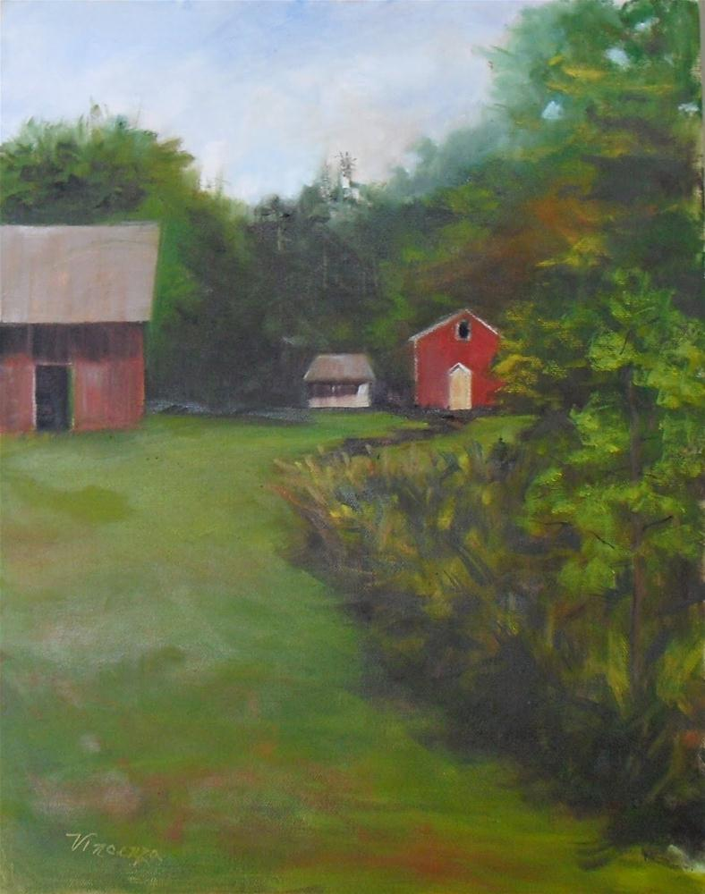 """Lonely Barn ~14 x18~ oil on canvas"" original fine art by Vincenza Harrity"