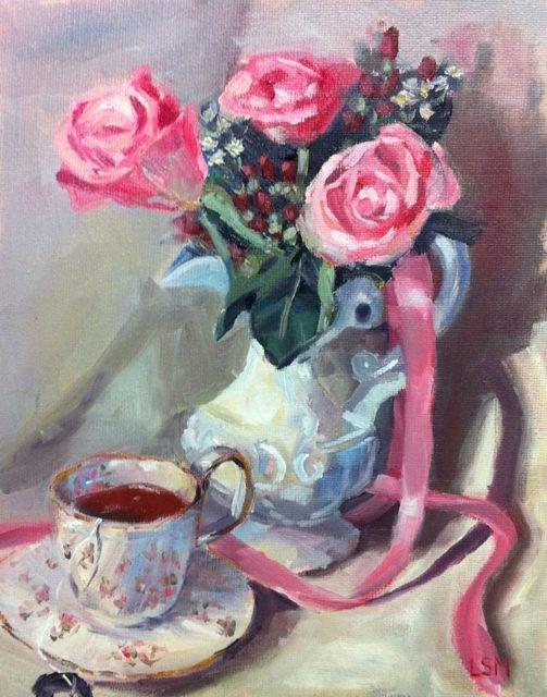 """Pink Rose and Tea"" original fine art by Linda Marino"
