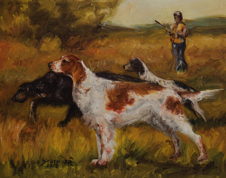 """Irish Red and White Setter"" original fine art by Sue Deutscher"