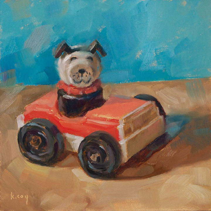 """""""When Dogs Drive Cars"""" original fine art by Kathleen Coy"""