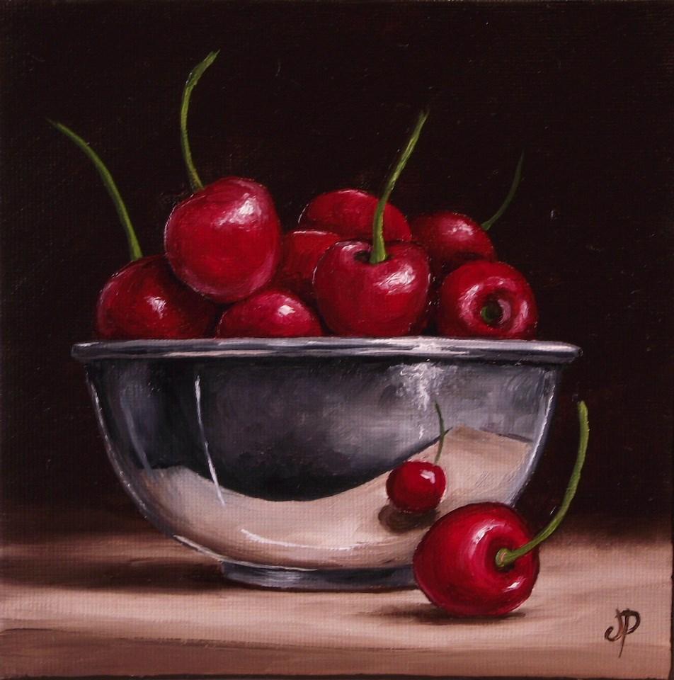 """""""Cherries in Silver"""" original fine art by Jane Palmer"""