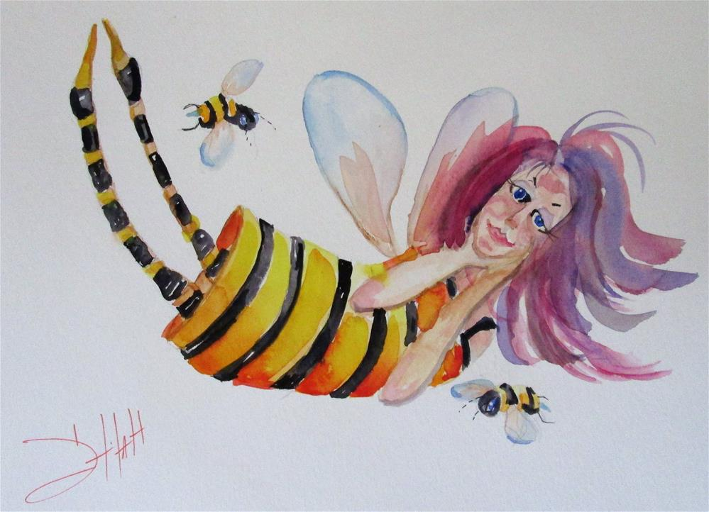 """Bumble Bee Fairy"" original fine art by Delilah Smith"